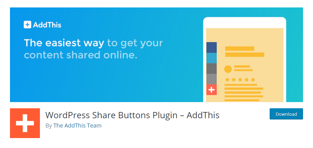 WordPress share button plugin - AddThis