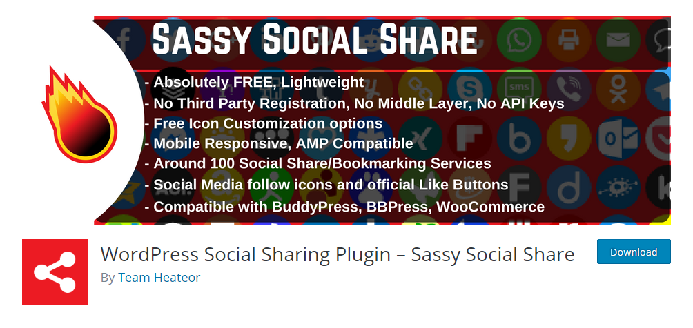 WordPress social sharing plugin - Sassy social share