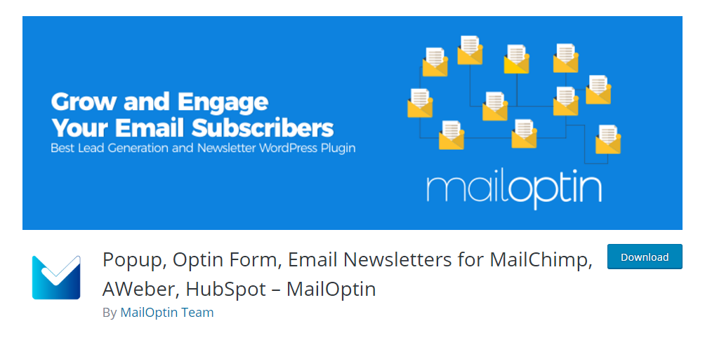Popup, Optin Form, Email Newsletters for MailChimp, AWeber, HubSpot - MailOptin