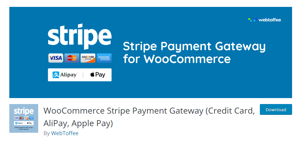 WooCommerce Stripe Payment Gateway (Credit Card, AliPay, Apple Pay)