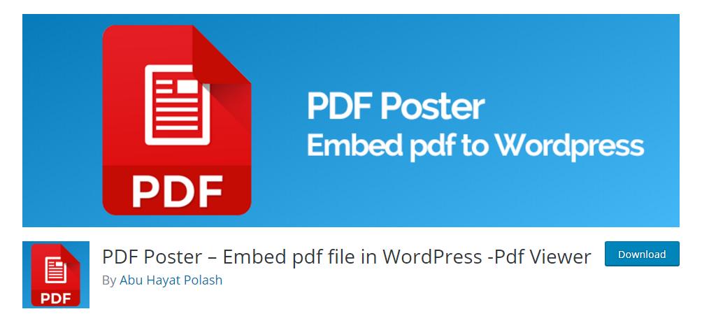 PDF Poster - Embed pdf file in WordPress - Pdf Viewer