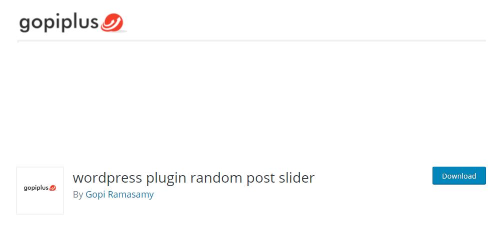 WordPress Plugin Random Post Slider