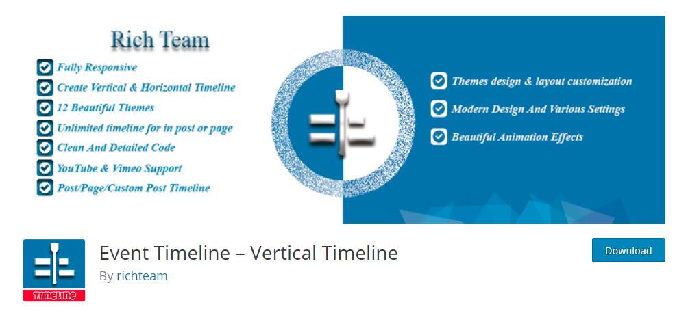 Event Timeline - Vertical Timeline