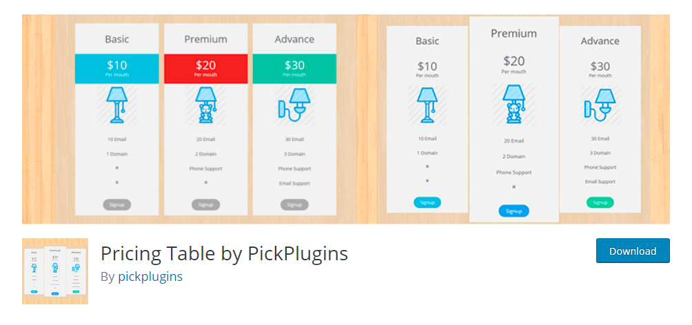 Pricing Tables by PickPlugins