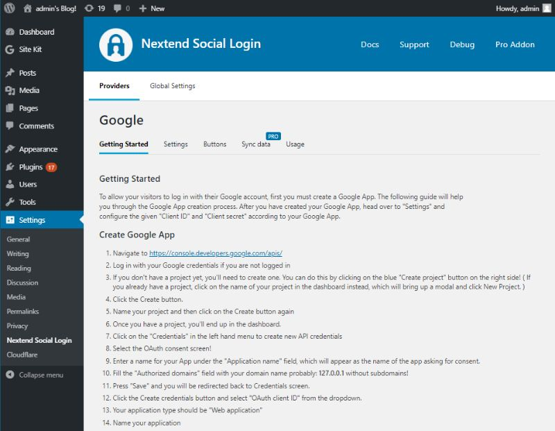 Getting started Google and Nextend social login