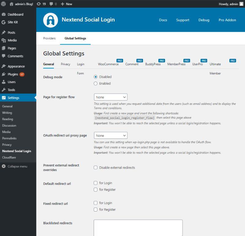 General tab of Global settings of Nextend social login