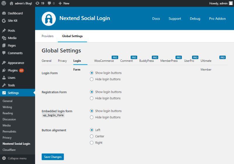 Login Form of Global settings of Nextend Social Login
