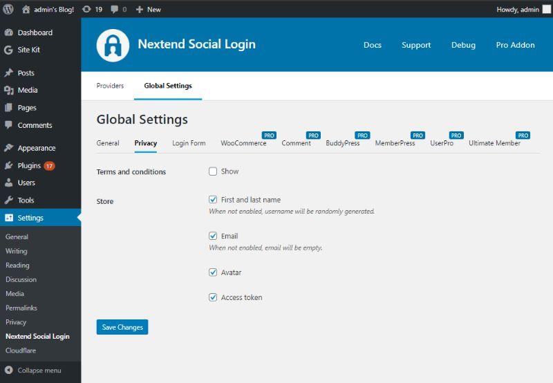 Privacy tab of Global settings of Nextend Social Login