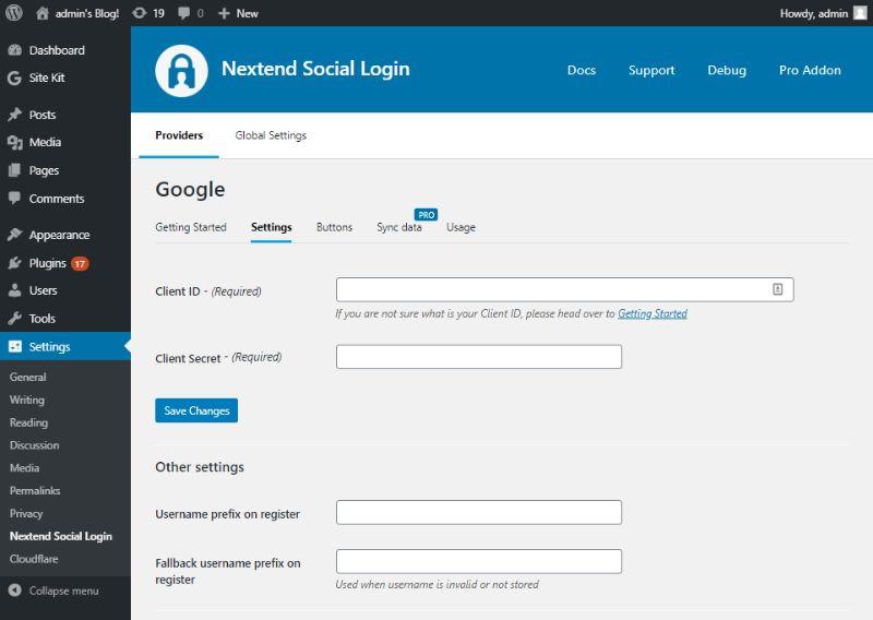 Nextend Social Login settings