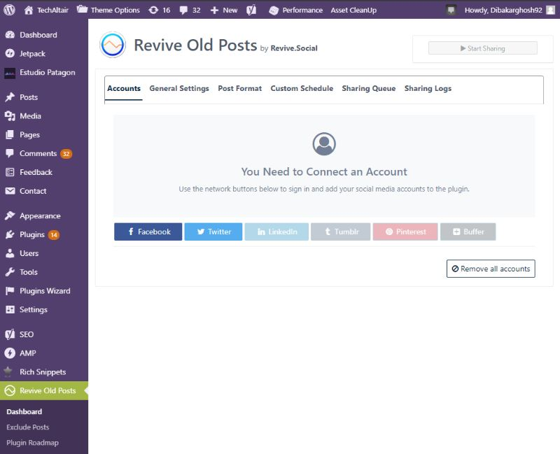 Revive Old Post dashboard