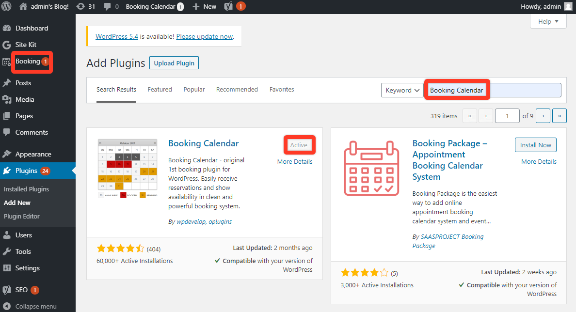 Install Booking Calendar plugin