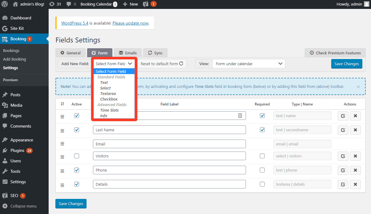Add extra fields to booking form
