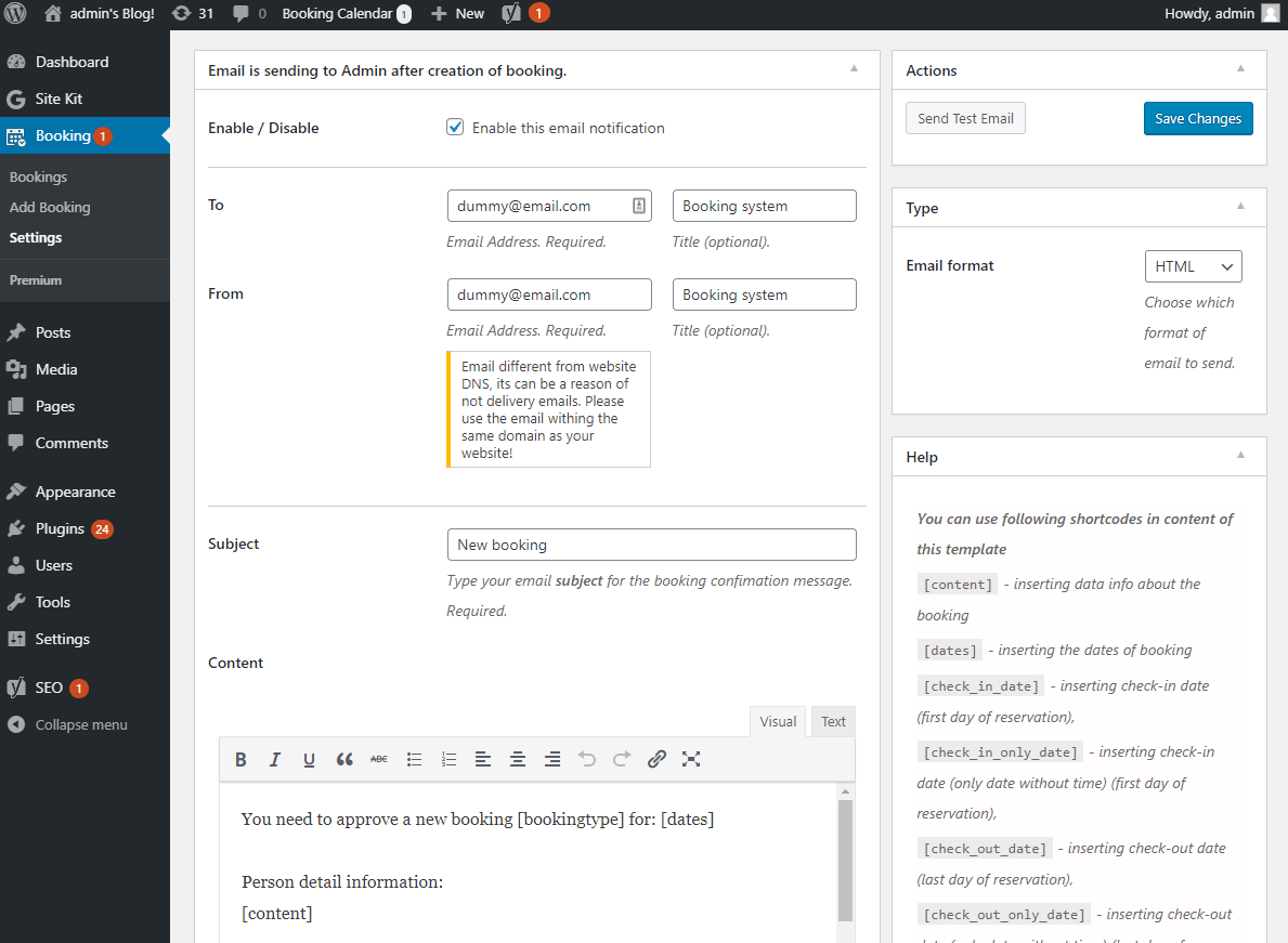 Configure admin email for booking system