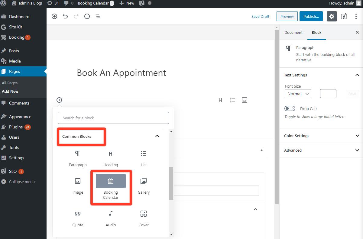Add booking form through Gutenberg
