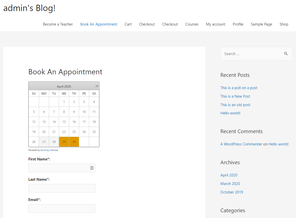 Booking form preview