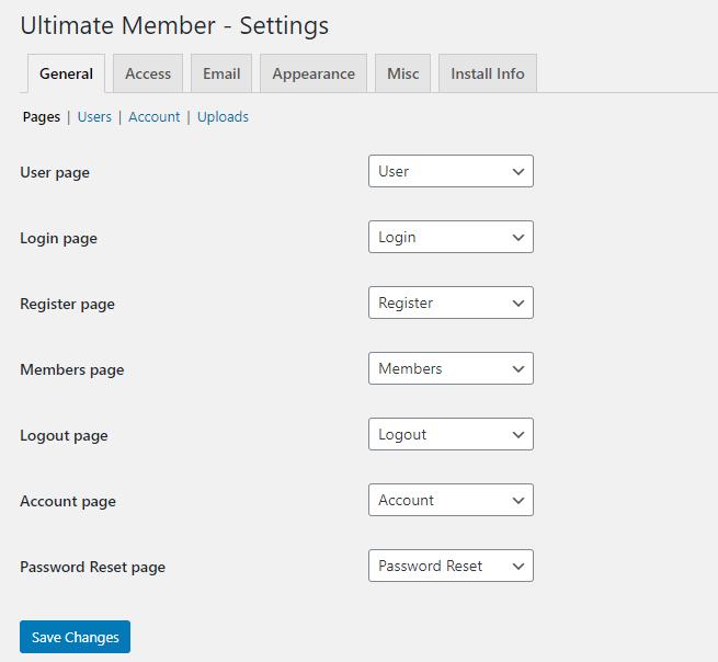 Ultimate Member - General tab page