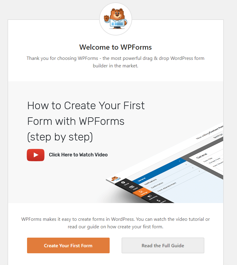 Welcome screen of WPForms