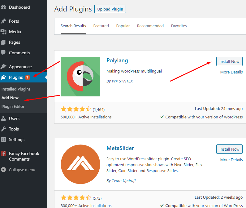 Install WordPress multilingual plugin - Polylang