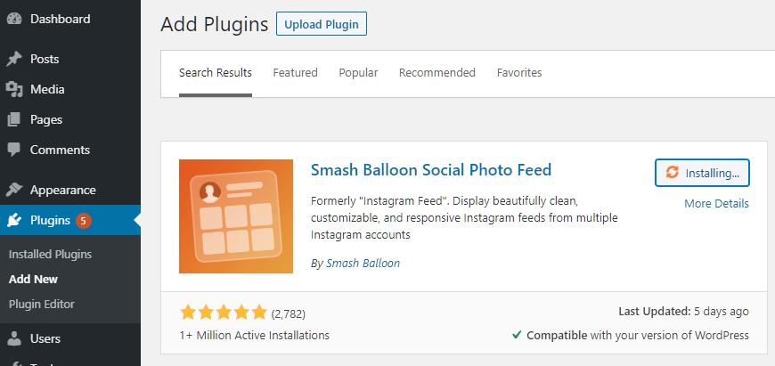 Install Smash Balloon Social Photo Feed