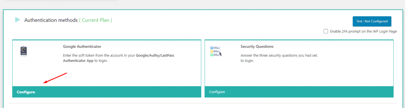 Google Authenticator option
