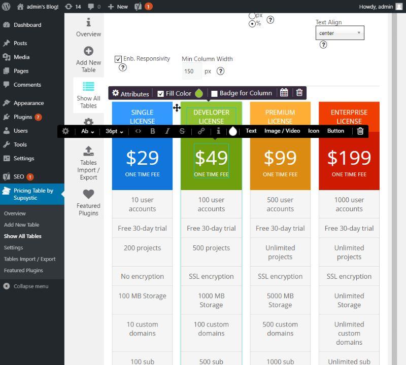 WYSIWYG editing pricing table