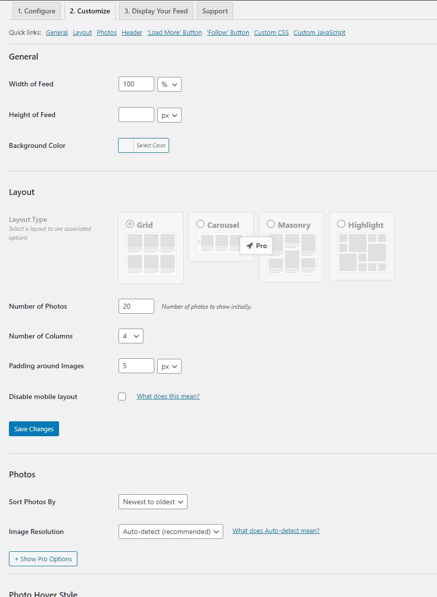 Customize tab page