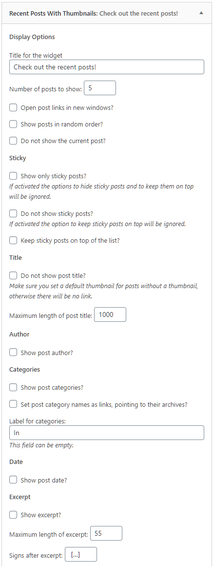 Recent Posts settings