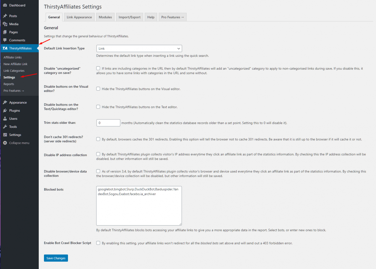 The settings of ThirstyAffiliates