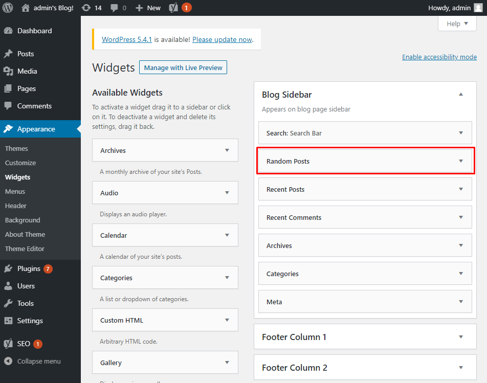 Add random posts widget to blog side bar