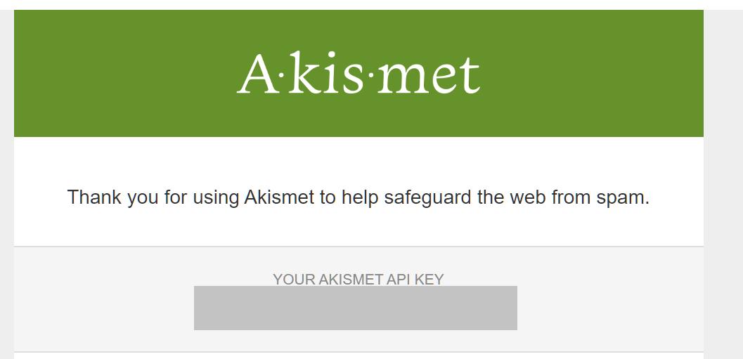 Akismet API key delivered