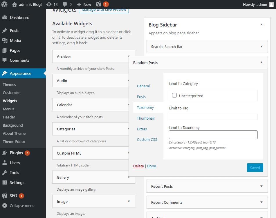 Random posts widget options - Taxonomy section