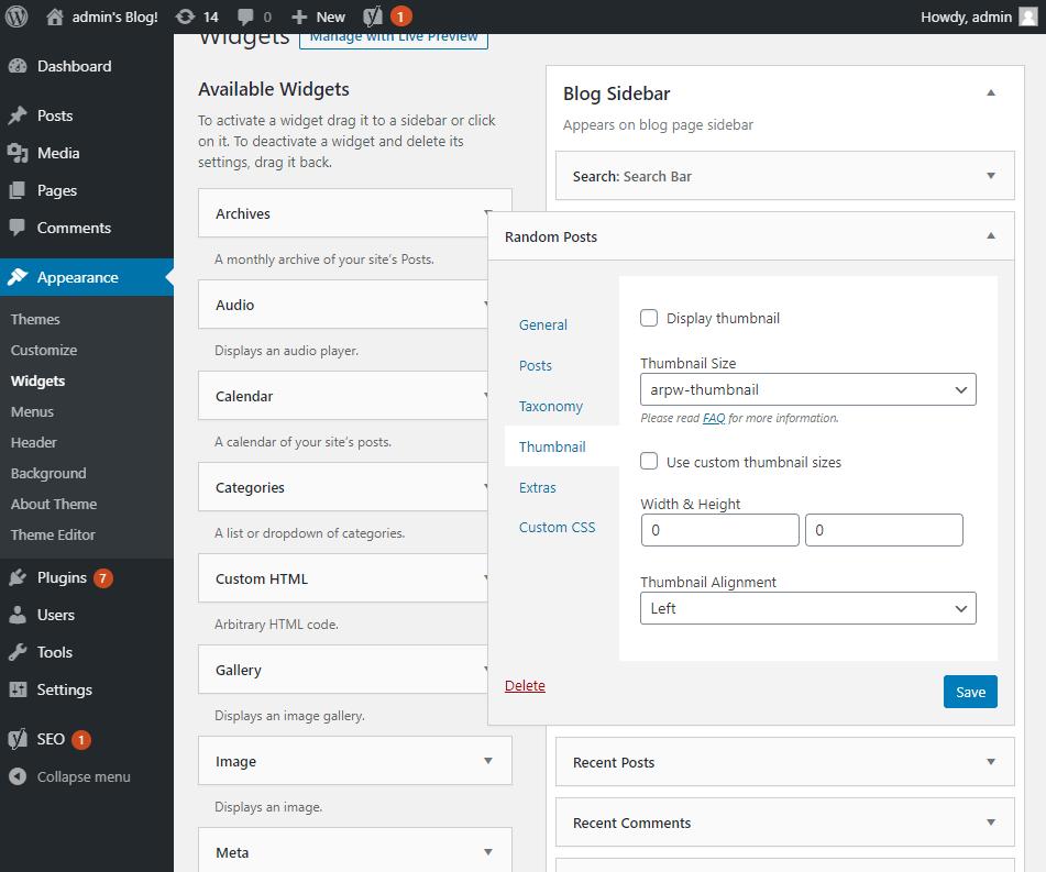 Random posts widget options - Thumbnial section