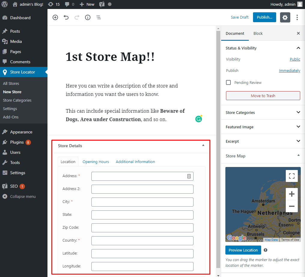 Create a new store map